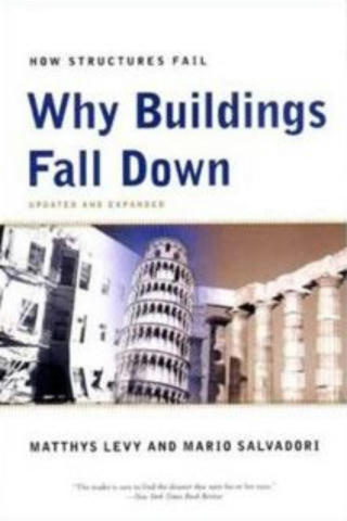 "Cover of Why Buildings Fall Down. White cover, with the words ""Why Buildings Fall Down� in blue. Below the title is a picture pof three buildings: (L-R) a multi-storey white building with rectangular windows, the Leaning Tower of Pisa on a blue-ish background, and a line of circular columns on a brown-ish background."